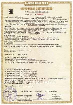 Сертификат на мониторы MDМ